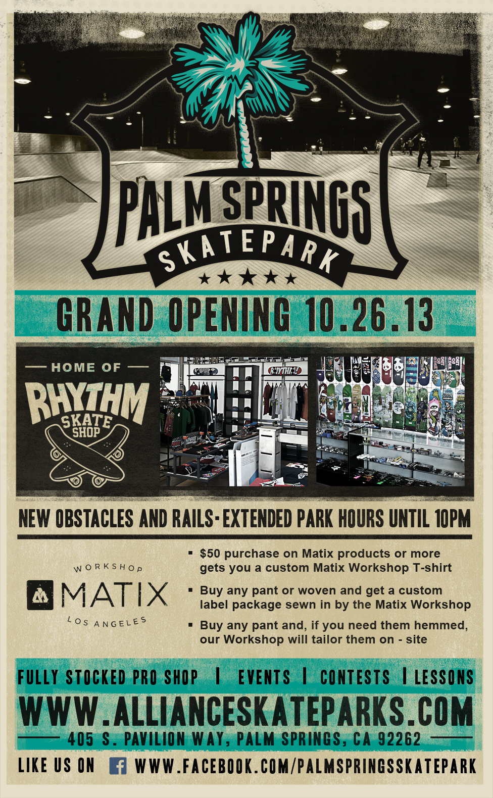 Be sure and make it out to the Grand Opening of Palm Springs Skatepark October 26th, 2013. This is our fourth location opening. Thanks to Spohn Ranch for the dope renovations. California Skatepark, California Skateparks, Alliance Skatepark, Skateparks in Cali, Cali Parks, Skate Parks, Skateboarding, Skate, Skate Life, Grand Opening, Best Skateparks, Rhythm Skate Shop, Rhythm, Dallas Skateparks, Dallas Skate Parks, Skate Parks in Dallas, Dallas TX, Palm Springs CA, Fontana CA, Fontana Skate Park, Fontana CA Skateboarding, Fontana Skate Shop, All